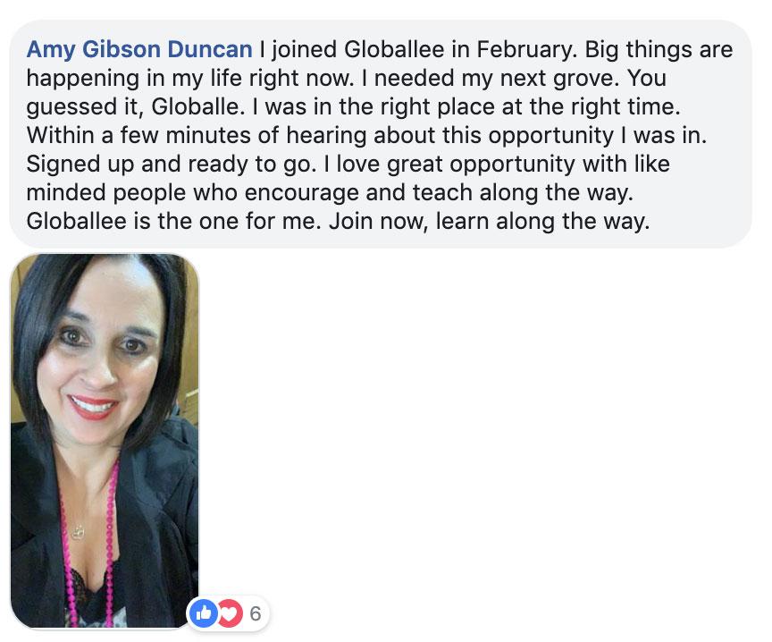 Globallee Testimonials TAKA - Amy business Opportunity