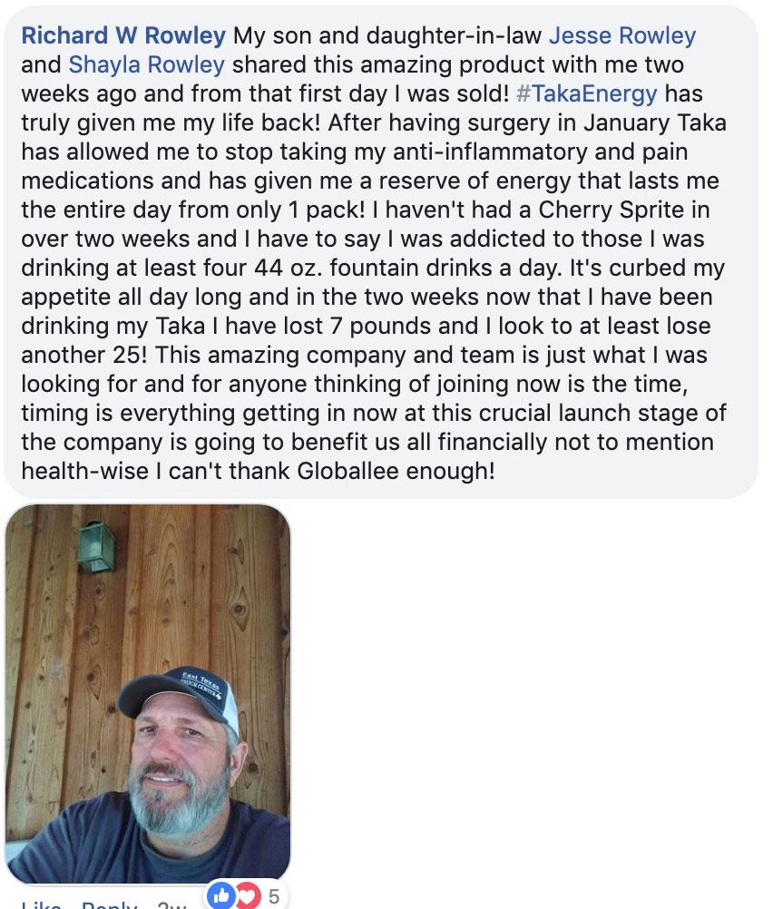 Globallee Testimonials TAKA - Richard